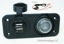 Waterproof Dual USB Charger Socket + Switch 12 V Outlet Power Jack Marine Boat