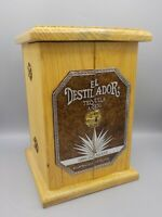Vintage Eldistilador Wood Tequila Presentation Box Storage Case Shot Glass Rack