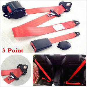 Adjustable Retractable 3 Point Safety Seat Belt Lap Seatbelt For Car Truck Red