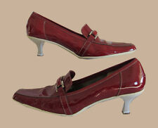 Red Patent Leather Low Heel Pump Shoes FLORAN   Size 9 Made In Italy