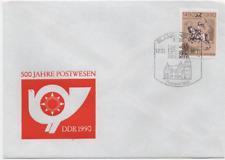 """DDR 1990 Mi 3299 """"Postreiter"""" 500 Jahre Postverbindung Ersttagsbrief Blankenburg"""