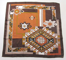 Vintage 1960s Mod Silk Scarf Made In France Brown Copper White Tan