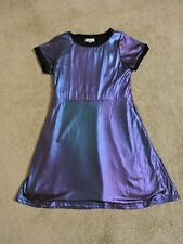 Appaman Girls Dress Purple Glossy Fancy Short Sleeves Size 8