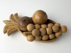 Vintage Wooden Fruit Lot Grapes Apples Monkey Pod Wood Carved Centerpiece Food
