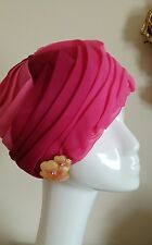 Vintage Pink Pleated Art Deco Turban Hat  Made in England NWOT