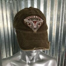 Brooks & Dunn Women's Corduroy Brown Destroyed Embroidery Baseball Cap One Size
