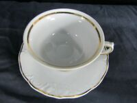 Wawel Wav23 Fine China Gold Trim Cup and Saucer Set White Floral Poland