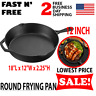 Pre Seasoned Cast Iron Skillet Round Fry Pan Pot Pot Cookware Cook Kitchen 12 In