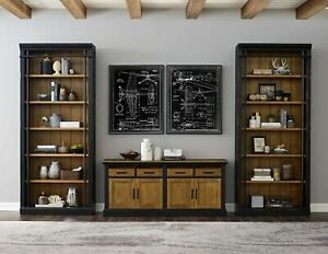PremiumHandmade Solid Aged Wood Bookcase (Set of 1) Antique Brown/Black