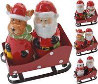 Christmas Salt and Pepper Set Xmas Condiment Set Cruet Set Santa in Sleigh