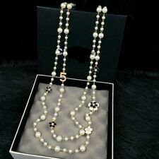 Beautiful White Pearls with Black White Camellia Flower Necklace Number 5 Bijoux