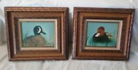Pair Original Oil Paintings Ducks / Redhead and Blue Wing Teal Drakes by Harris