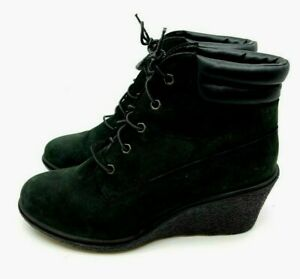 Timberland Earthkeepers Black Suede Wedge Boot Ankle Lace Up Rubber Sole Size 9