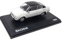Abrex Metall Modellauto 1:43 Skoda 110 R Coupe Weiss Schwarz 1980 Vitrine
