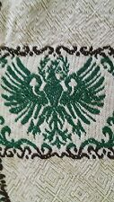 "Tapestry weave green eagle embroidered mix tablecloth 56"" sq vtg"