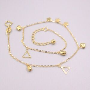 Pure Au750 18Kt Yellow Gold Chain Women O Link Heart Triangle Anklets 1.5-2g