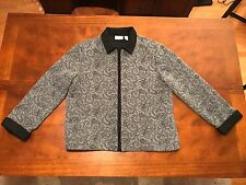 Alfred Dunner Women's Size 14 Zip up Fleece Jacket Grey With Black Pattern