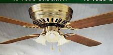 "52"" Chatham Lighted Ceiling Fan- 3 Tulip Lights-brass w/walnut blades- orig. box"