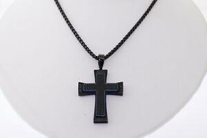 Shaquille O'Neal Black Stainless Steel Gen. black Diamond Tread Cross Necklace
