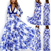 Women Summer Boho Chiffon Party Evening Beach Dresses Long Maxi Dress Sundress