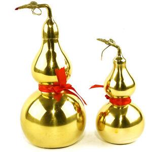Traditional Chinese Natural Feng Shui Gourd Brass Mental Golden Enhance L^KN