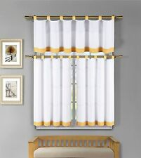 Tatum 3 Pc White Yellow Gingham Check Kitchen Window Curtain Set NWOP