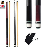 """2Pcs 58"""" Billiard Pool Cue Canadian Maple Sticks 13mm Leather Tip with Gloves"""