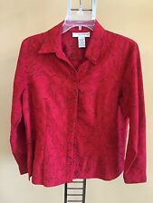 Sag Harbor Pequeño Talla Pl Rojo Rubí Adornado Camisa Top
