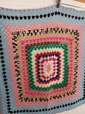 Handmade Rainbow Crochet Square Blanket Size 30 x 30 inches Hippy Campervan