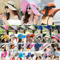 Boho Women Summer Wide Brim Straw Hat Floppy Derby Beach Sun Cap UV Protection