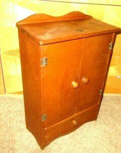 "Roomy Vintage Wooden Baby Doll Furniture Wardrobe  Closet 20X14X7"" Drawer, Shelf"