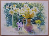 ORIGINAL WATERCOLOR PAINTING DAFFODILS FLOWERS ART BY ARTIST