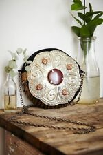 FREE PEOPLE Women's Metallic Metal Embellished Tambourine Bag Chain Purse • NEW