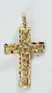 Vintage 14K YELLOW GOLD NUGGET HAMMERED CHRISTIAN CROSS PENDANT - NEW