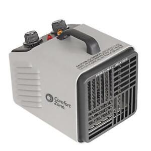 Comfort Zone Utility Garage Heater 1500-Watt Grey Fan-Forced Electric Portable