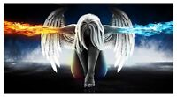 ANGEL WINGS WOMEN ABSTRACT FIRE ICE WALL ART CANVAS PICTURE PRINT VARIOUS SIZES