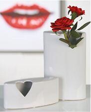 36649 BÚCARO abrir el corazón H 24,5cm ANCH 15cm de cerámica blanco con forma