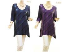 PLUS Size Boho Sequin Embellished Sharkbite Hem Jersey Tunic Shirt Top XL 0X NEW