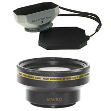 30mm Wide Angle Lens + Macro + Silver Hood for Sony Handycam DVD650,DCR-SR80,US