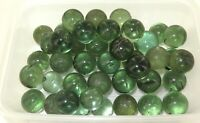 .LARGE JOB LOT ANTIQUE / VINTAGE GREEN TRANSPARENT BOTTLE GLASS MARBLES