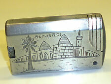 VINTAGE SOLID ALUMINIUM POCKET LIGHTER W. ENGRAVING - WWII (1939-1945) - NICE