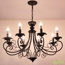 Vintage Black Iron art Chandelier Pendant Lamp Ceiling Light LED Hanging lights