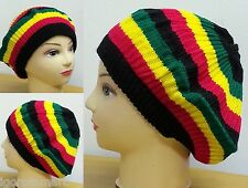 *H0T* Rasta Beanie Hat Cap Knit Hippie Jamaican Hats Stripe Slim UK Seller