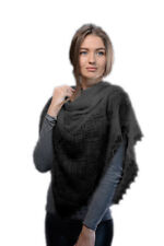 "Russian Orenburg Shawl Black Goat Down Viscose Soft Wrap 100x100 cm (39x39"")"