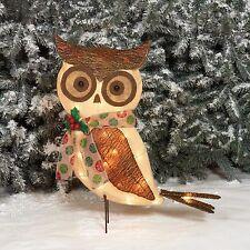 "Outdoor Christmas 24"" Sparkling Burlap Bark Owl Pre-Lit Lighted Sculpture Decor"