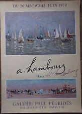 André HAMBOURG  Affiche lithographie signée crayon Eaux Mourlot 1970 bateaux **