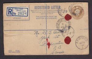 Canada WW2 GB KGV 5½d reg stat envelope FPO 539 + FPO SC2 RCAF overseas 1945