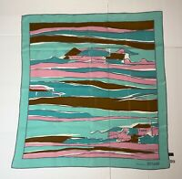 """BRIONI Silk Scarf Sunset Cape Coastal Teal Pink Brown Gray Hand Rolled Italy 34"""""""