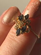 Natural Sapphire And Diamonds 14 Ct Carat Solid Gold Ring