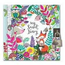 Rachel Ellen Woodland Design Secret Diary With Padlock & Key Gift for Girls